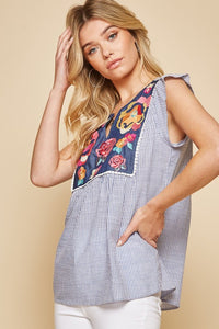 Embroidered Floral Top in Denim by Savanna Jane - June Adel