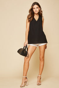 Black Top with Scalloped Neckline by Andree by Unit - June Adel