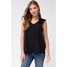Load image into Gallery viewer, Black Sleeveless Top with Ruffled Shoulder - June Adel