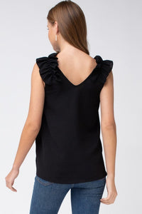 Black Sleeveless Top with Ruffled Shoulder - June Adel