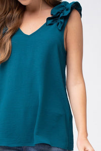 Teal Sleeveless Top with Ruffled Shoulder - June Adel