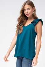 Load image into Gallery viewer, Teal Sleeveless Top with Ruffled Shoulder - June Adel
