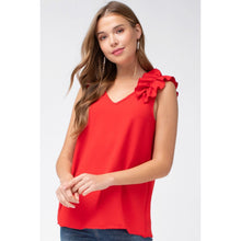 Load image into Gallery viewer, Tomato Red Sleeveless Top with Ruffled Shoulder - June Adel