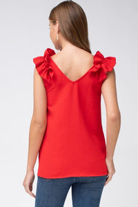 Tomato Red Sleeveless Top with Ruffled Shoulder - June Adel