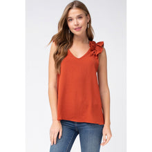 Load image into Gallery viewer, Rust Sleeveless Top with Ruffled Shoulder - June Adel