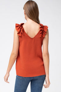 Rust Sleeveless Top with Ruffled Shoulder - June Adel
