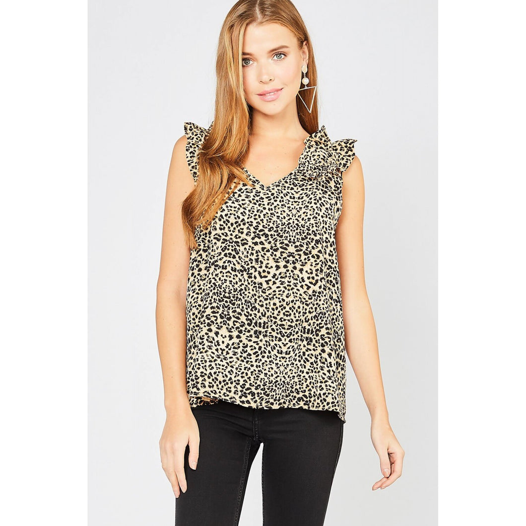 Sleeveless Brown Leopard Print Top with Frill Details at Shoulders - June Adel
