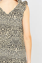 Load image into Gallery viewer, Sleeveless Brown Leopard Print Top with Frill Details at Shoulders - June Adel