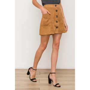 Camel Corduroy Mini Skirt with Buttons on Front - June Adel
