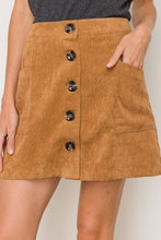 Load image into Gallery viewer, Camel Corduroy Mini Skirt with Buttons on Front - June Adel