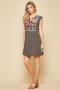 Black Striped Multicolor Dress by Savanna Jane with Floral Embroidery - June Adel