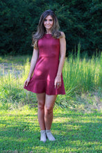 Load image into Gallery viewer, Wine Faux Suede Sleeveless Dress with Flounce Hem - June Adel