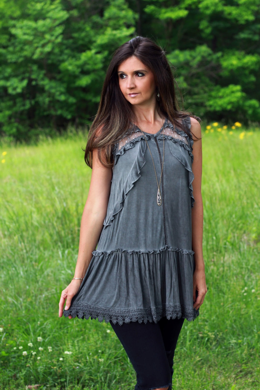 Charcoal Tunic Top with Mesh Contrast and Ruffle Details - June Adel
