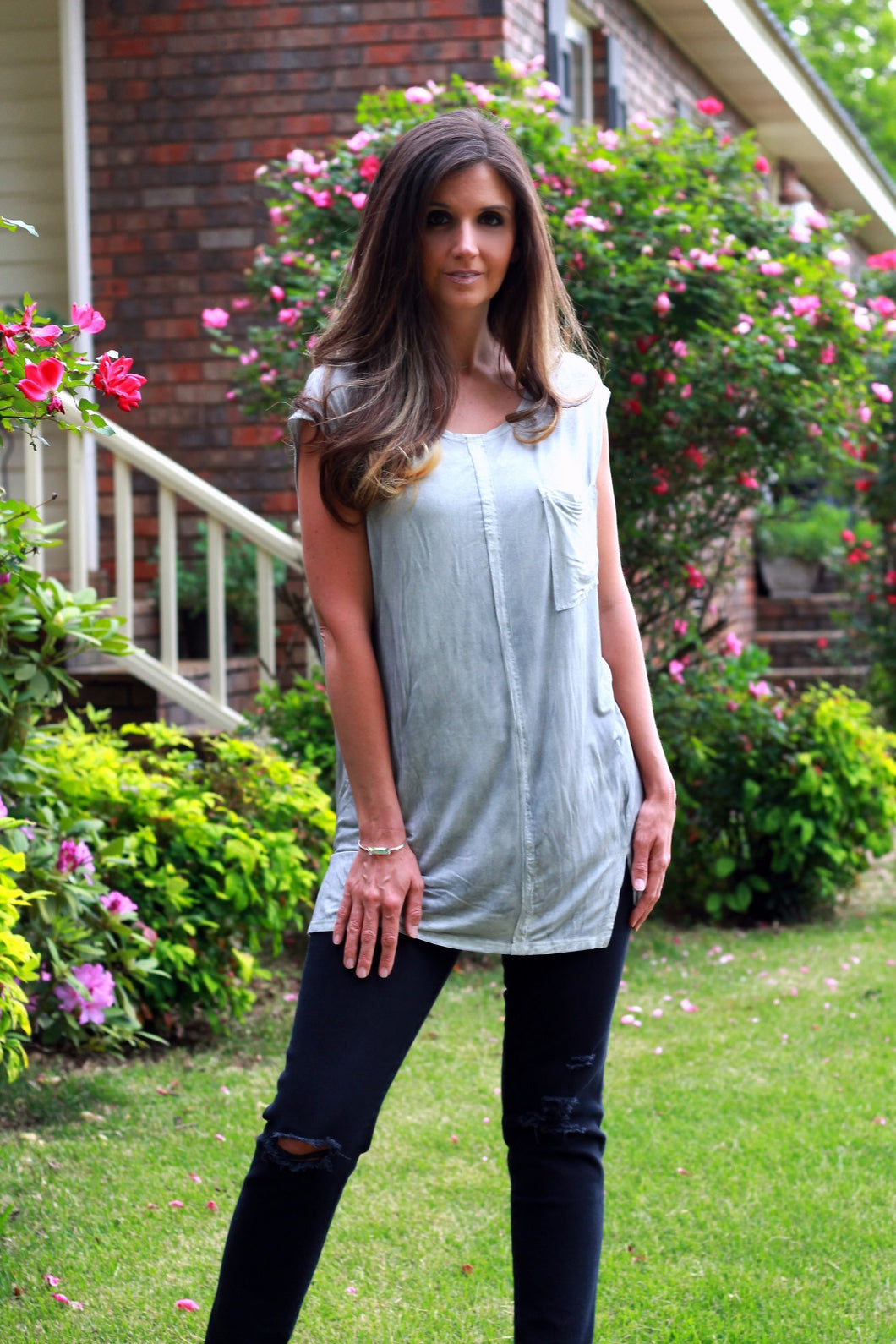 Asymmetrical Top with Exposed Seams and Pocket on Front - June Adel
