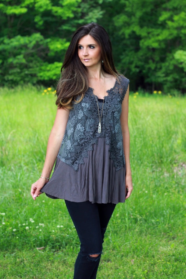 Charcoal Sleeveless Top with Contrasting Lace Details - June Adel