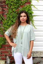 Load image into Gallery viewer, Easel Faded Sage Mineral Washed Top with Ribbed Trim - June Adel