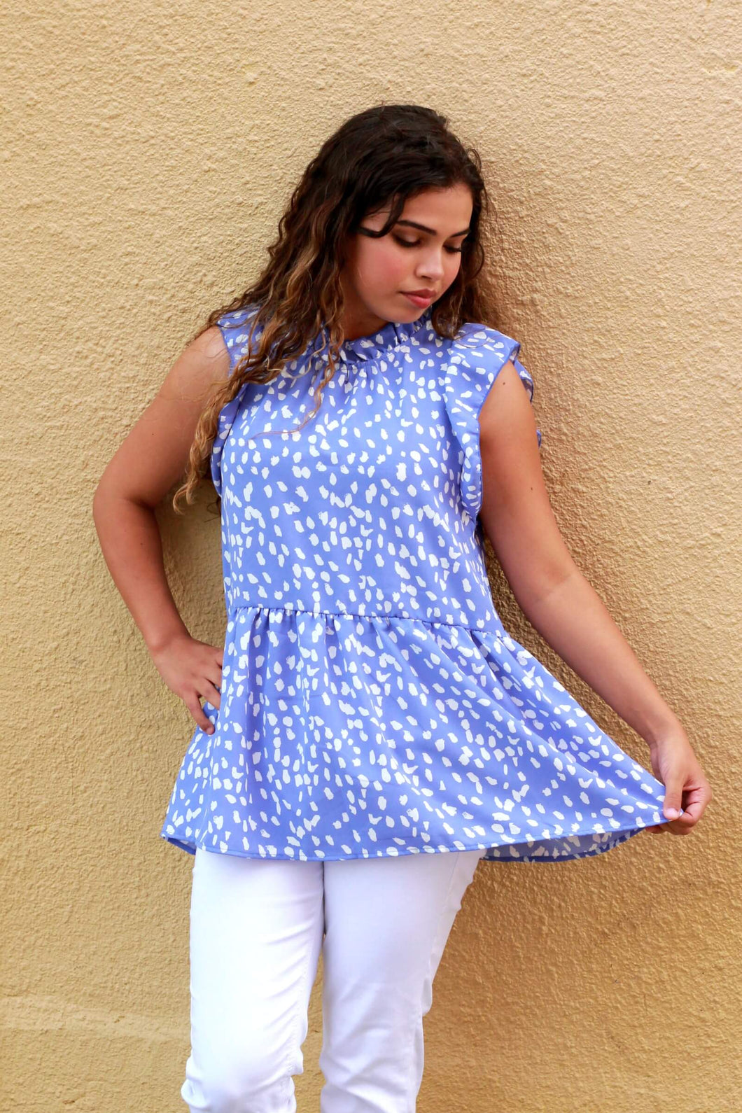 Entro Light Blue Cheetah Print Top - June Adel