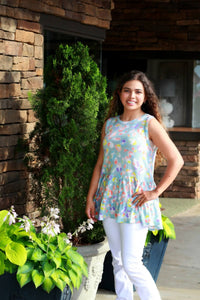 Colorful Printed Sleeveless Top in Pale Blue by First Love - June Adel