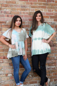 Tiered Tie Dye Top in Olive Mix - June Adel
