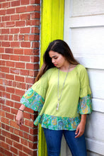 Load image into Gallery viewer, Umgee Linen Blend Top with Paisley Printed Sleeves in Kiwi - June Adel