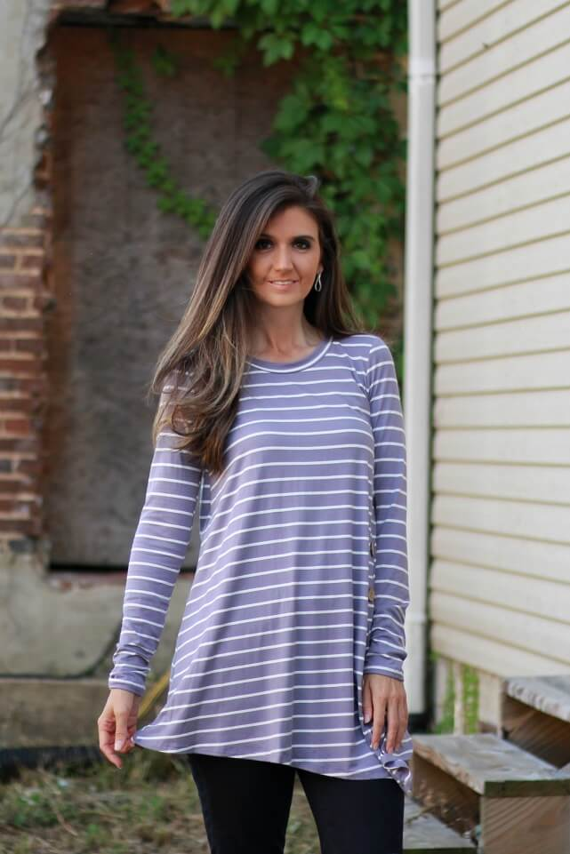 Lilac Striped Asymmetrical Top with Button Accents - June Adel
