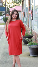 Load image into Gallery viewer, Knit Dress with Pockets in Burnt Red - June Adel