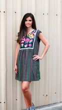 Load image into Gallery viewer, Black Striped Multicolor Dress by Savanna Jane with Floral Embroidery - June Adel
