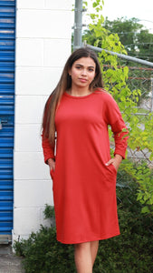 Knit Dress with Pockets in Burnt Red - June Adel