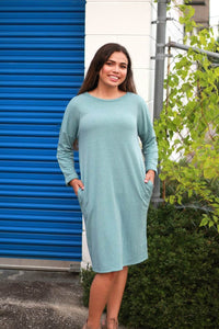 Knit Dress with Pockets in Light Aqua Blue - June Adel