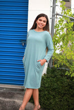 Load image into Gallery viewer, Knit Dress with Pockets in Light Aqua Blue - June Adel