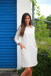 Knit Dress with Pockets in Light Heather Gray - June Adel