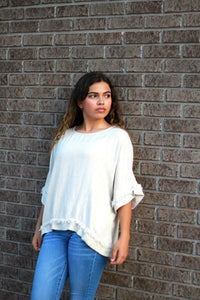 Umgee Boxy Fit Oatmeal Short Sleeve Top with Frayed Details - June Adel