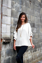 Load image into Gallery viewer, Umgee Oatmeal Top with Ruffle Sleeves and Frayed Trim - June Adel