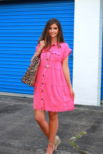 Load image into Gallery viewer, Umgee Hot Pink Tiered Dress with Frayed Hem - June Adel