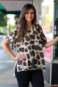 Umgee Latte Animal Print Shirt