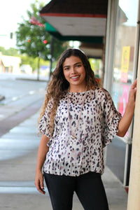 Umgee Animal Print Top with Metallic Threading and Ruffle Sleeves