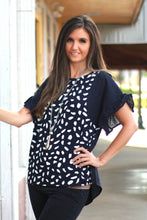 Load image into Gallery viewer, Umgee Dalmatian Printed Top in Navy with Ruffle Sleeves