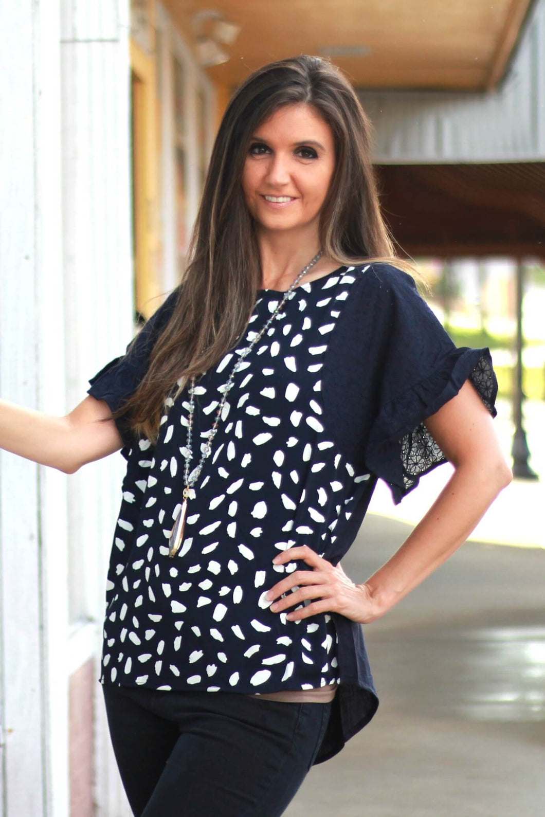 Umgee Dalmatian Printed Top in Navy with Ruffle Sleeves