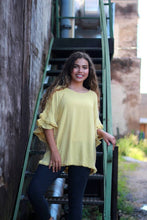 Load image into Gallery viewer, Umgee Golden Yellow Linen Blend Top with Frayed Trim