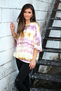 Easel Mustard and Purple Tie Dye Top