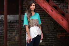 Load image into Gallery viewer, Umgee Animal Print and Turquoise Mix Color Block Top