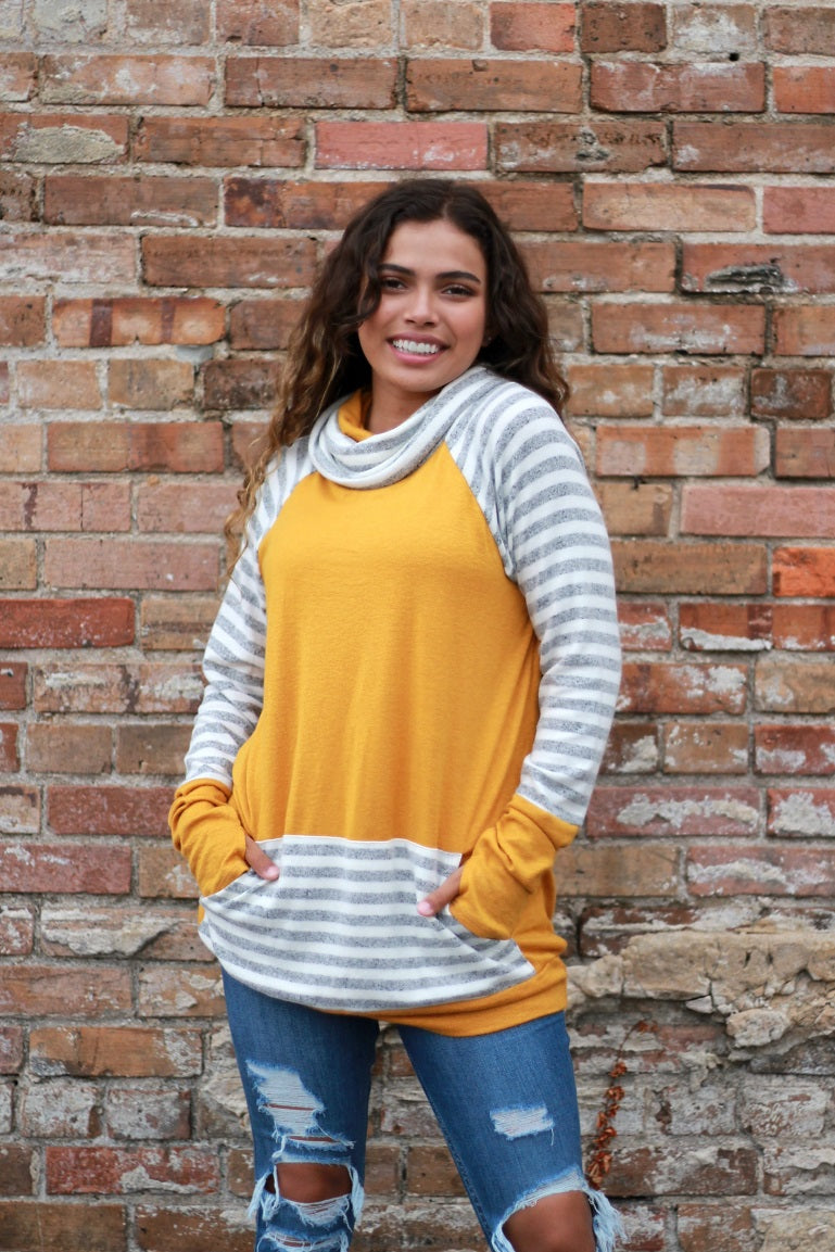 Relaxed Cowl Mustard Top