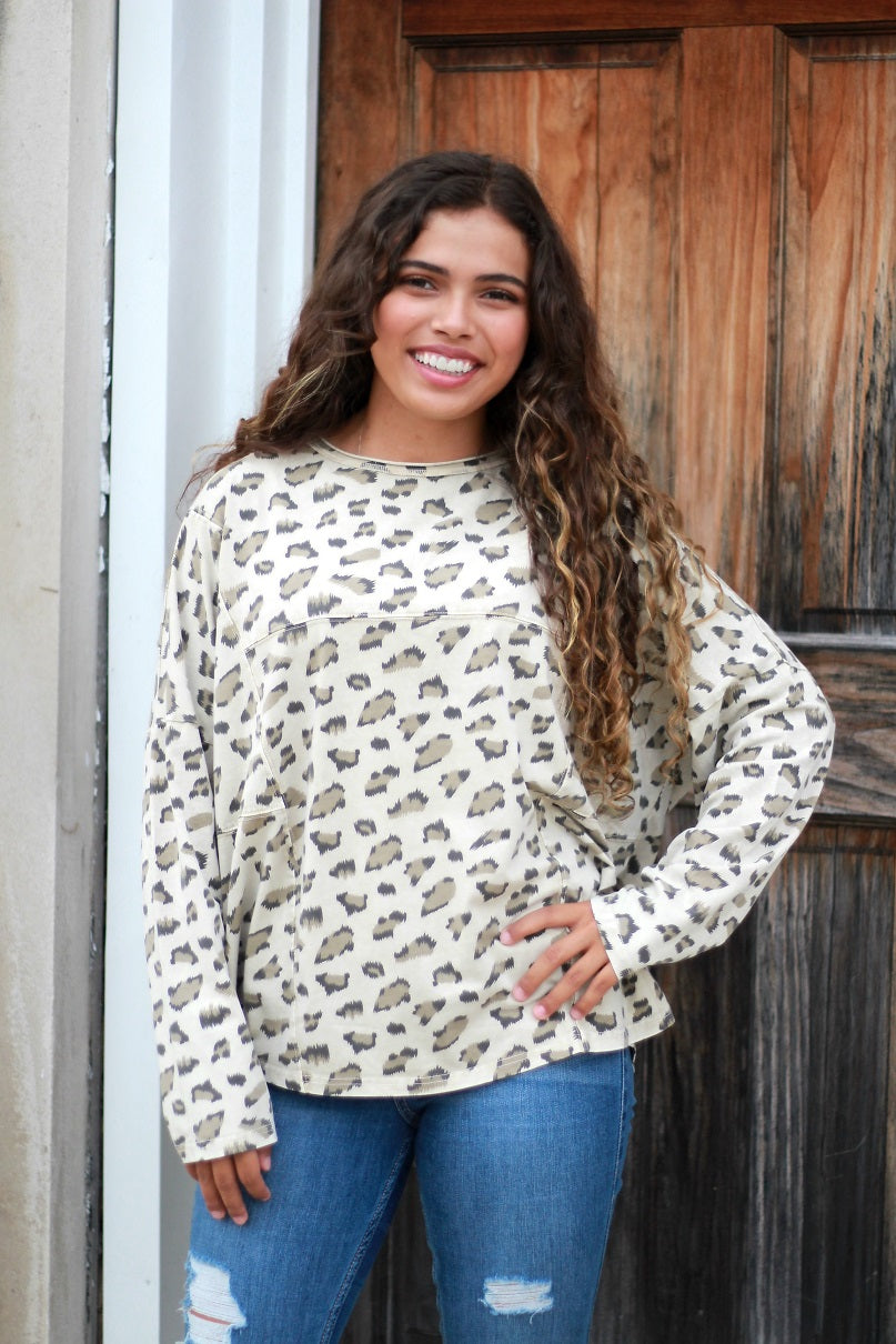 Easel Tan Leopard Print Top
