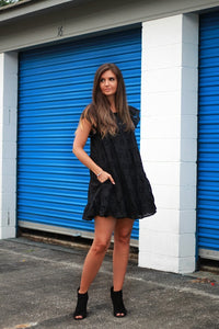 Black Eyelet Lace Tiered Dress