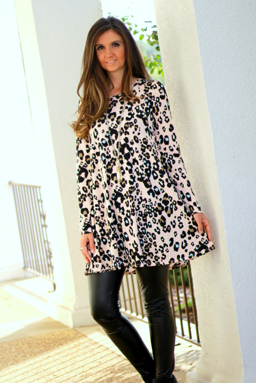 Blush Animal Print Soft Knit Dress