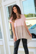 Load image into Gallery viewer, Umgee Dusty Peach Top with Polka Dot Tiered Ruffle Hem