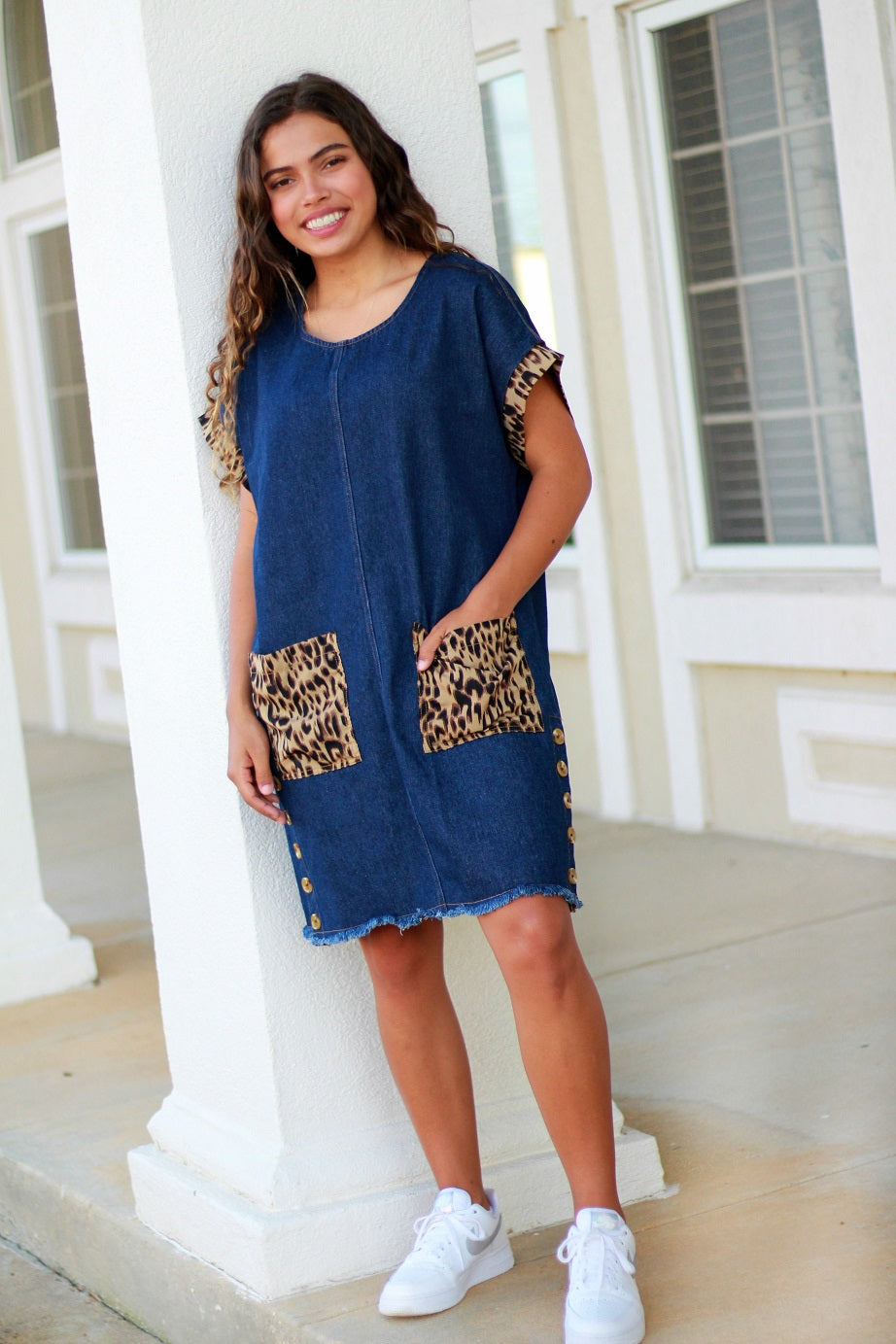 Umgee Dark Denim Dress with Animal Print Trim and Front Pockets