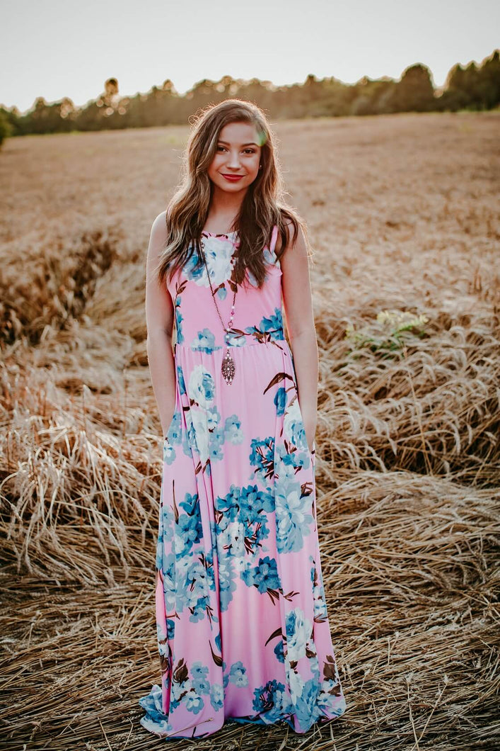 Pink Floral Sleeveless Maxi Dress with Bold Blue Floral Print - June Adel