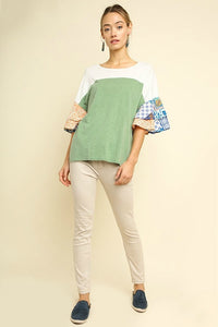 Umgee Color Block Top with Paisley Layered Sleeves in Sage - June Adel