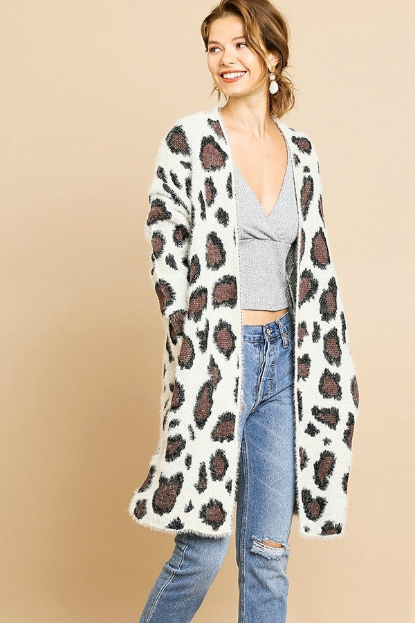Umgee Cream Animal Print Cardigan
